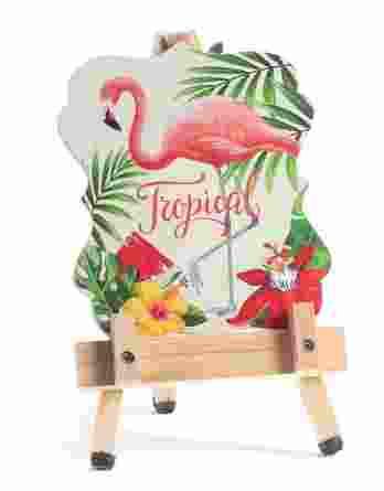 Μπομπονιέρα βάπτισης Flamingo Καδράκι σε καβαλέτο 22054