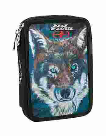 BMU Κασετίνα Διπλή Γεμάτη No Fear Fluo Wolf 347-70100